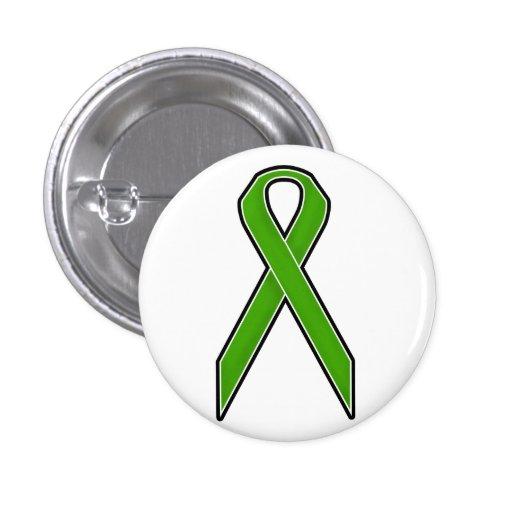 Green Awareness Ribbon Pinback Buttons