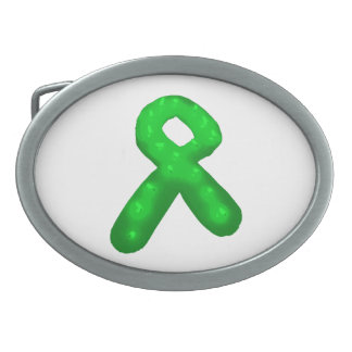 Green Awareness Ribbon Candle Belt Buckles