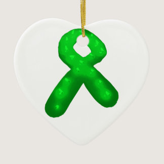Green Awareness Ribbon Candle Ceramic Ornament