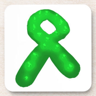Green Awareness Ribbon Candle Drink Coasters