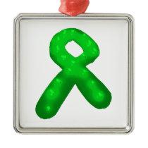 Green Awareness Ribbon Candle Metal Ornament