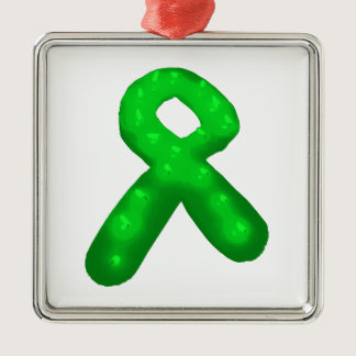 Green Awareness Ribbon Candle Metal Ornament