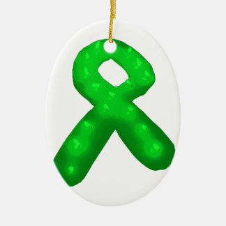 Green Awareness Ribbon Candle Double-Sided Oval Ceramic Christmas Ornament