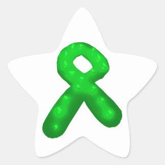 Green Awareness Ribbon Candle Star Sticker