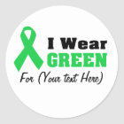 Green Awareness Ribbon Classic Round Sticker