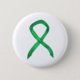 Green Awareness Ribbon Custom Art Button