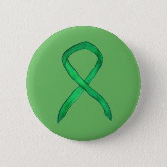Green Awareness Ribbon Custom Art Button