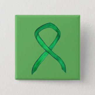 Green Awareness Ribbon Custom Art Pins