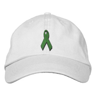 green awareness ribbon embroidered baseball hat