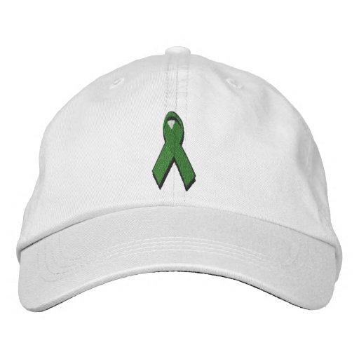 green awareness ribbon embroidered baseball hat