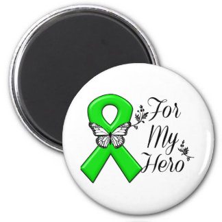 Green Awareness Ribbon For My Hero 2 Inch Round Magnet