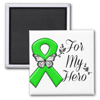 Green Awareness Ribbon For My Hero 2 Inch Square Magnet