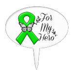Green Awareness Ribbon For My Hero Cake Topper