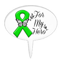 Green Awareness Ribbon For My Hero Cake Topper
