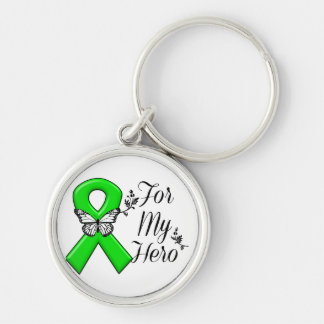 Green Awareness Ribbon For My Hero Silver-Colored Round Keychain