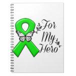 Green Awareness Ribbon For My Hero Spiral Notebook