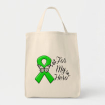 Green Awareness Ribbon For My Hero Tote Bag