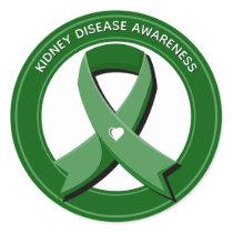 Green Awareness Ribbon Kidney Disease Awareness Classic Round Sticker