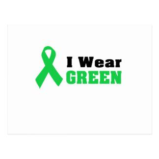 Green Awareness Ribbon Postcard