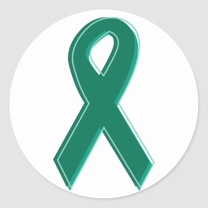Green Awareness Ribbon Round Stickers