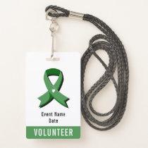 Green Awareness Ribbon White Heart Event Badge