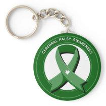 Green Awareness Ribbon White Heart Keychain
