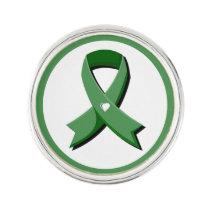 Green Awareness Ribbon White Heart Lapel Pin