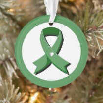 Green Awareness Ribbon White Heart Ornament