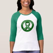 Green Awareness Ribbon White Heart T-Shirt