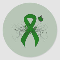 Green Awareness Ribbon with Butterfly Classic Round Sticker