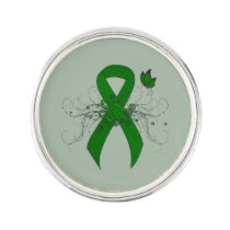 Green Awareness Ribbon with Butterfly Lapel Pin