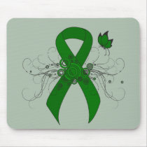 Green Awareness Ribbon with Butterfly Mouse Pad