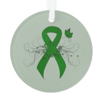 Green Awareness Ribbon with Butterfly Ornament