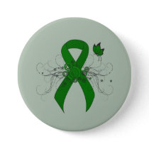 Green Awareness Ribbon with Butterfly Pinback Button