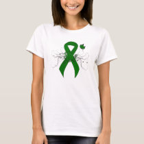 Green Awareness Ribbon with Butterfly T-Shirt
