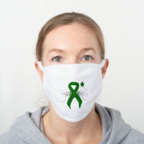 Green Awareness Ribbon with Butterfly White Cotton Face Mask