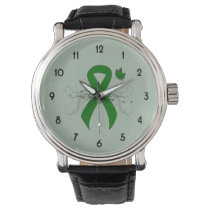 Green Awareness Ribbon with Butterfly Wrist Watch