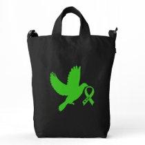 Green Awareness Ribbon with Dove of Hope Duck Bag