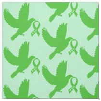 Green Awareness Ribbon with Dove of Hope Fabric