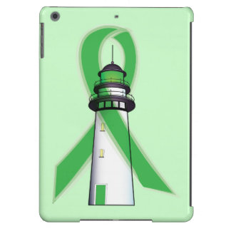 Green Awareness Ribbon with Lighthouse of Hope Cover For iPad Air