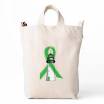 Green Awareness Ribbon with Lighthouse of Hope Duck Bag