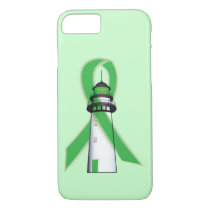 Green Awareness Ribbon with Lighthouse of Hope iPhone 8/7 Case