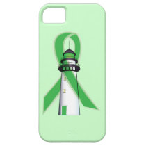Green Awareness Ribbon with Lighthouse of Hope iPhone SE/5/5s Case