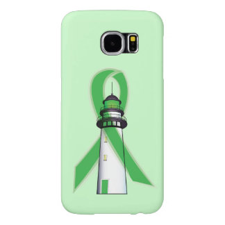 Green Awareness Ribbon with Lighthouse of Hope Samsung Galaxy S6 Cases