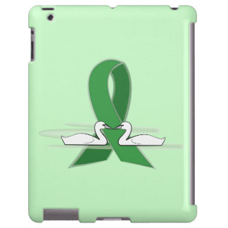 Green Awareness Ribbon with Swans