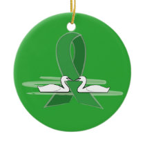 Green Awareness Ribbon with Swans Ceramic Ornament