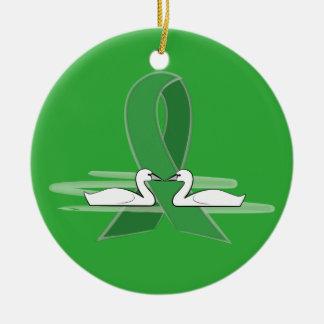 Green Awareness Ribbon with Swans Ceramic Ornament