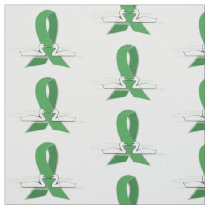 Green Awareness Ribbon with Swans Fabric