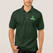 Green Awareness Ribbon with Swans Polo Shirt