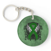 Green Awareness Ribbon with Wings Keychain